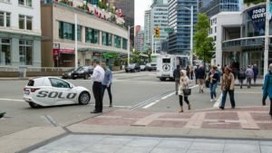 The Solo vehicle from Electra Meccanica Vehicles (SOLO) drives through Vancouver
